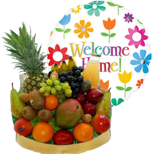 Beterschap - Fruitmand met welcome home heliumballon