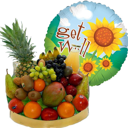 Beterschap - Fruitmand met get well sunflowers heliumballon